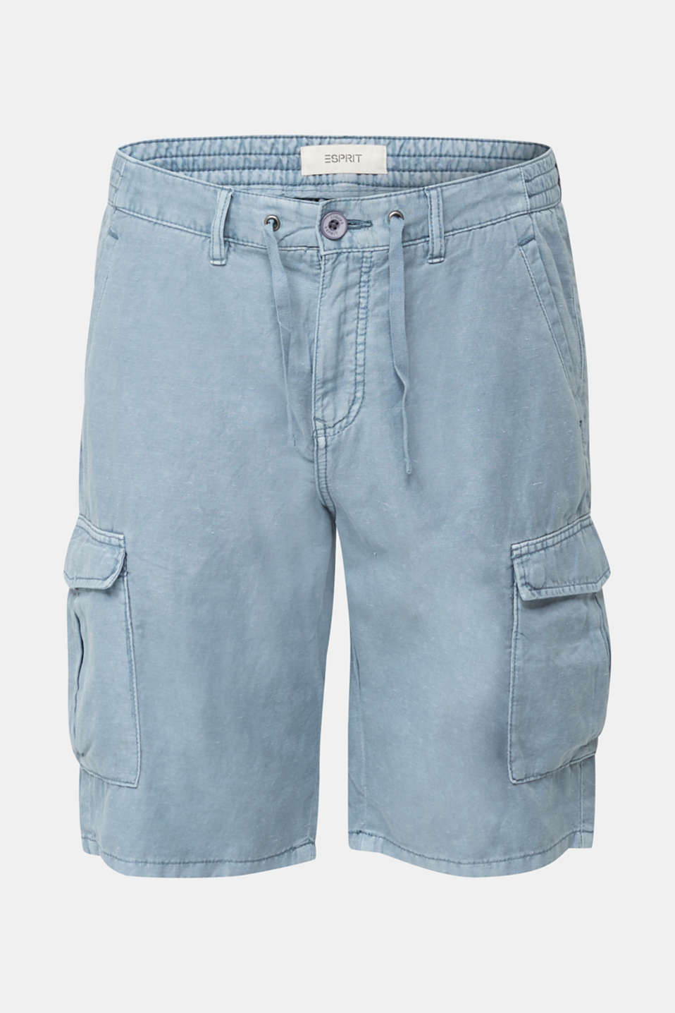 With linen: cargo shorts, GREY BLUE, detail image number 6
