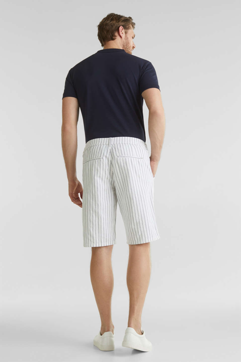 With linen: striped Bermudas, WHITE 3, detail image number 3