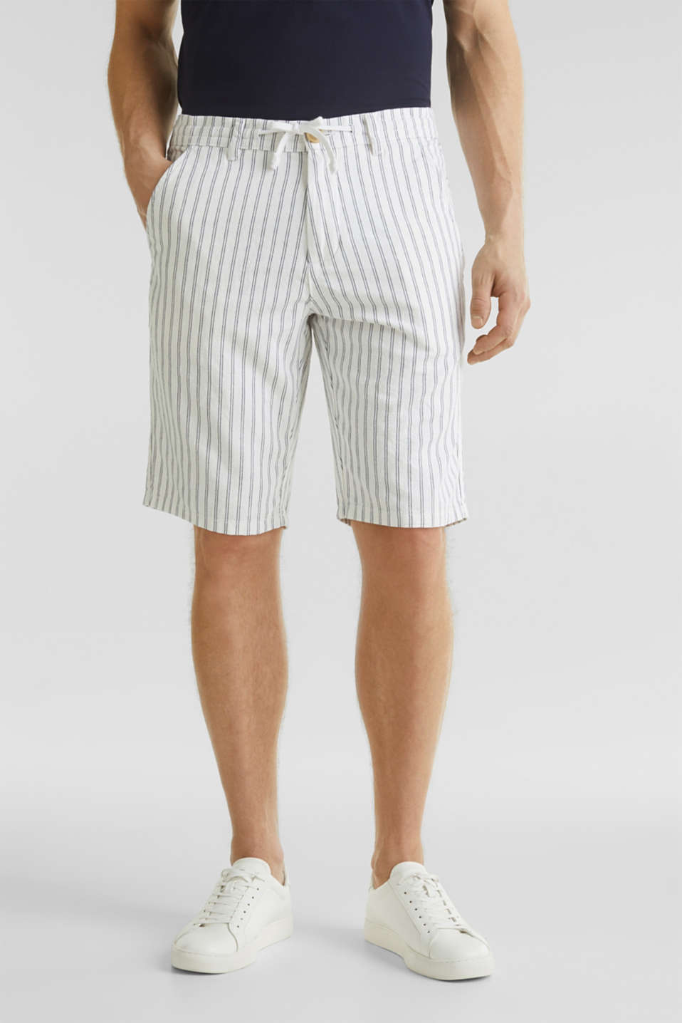 With linen: striped Bermudas, WHITE 3, detail image number 5