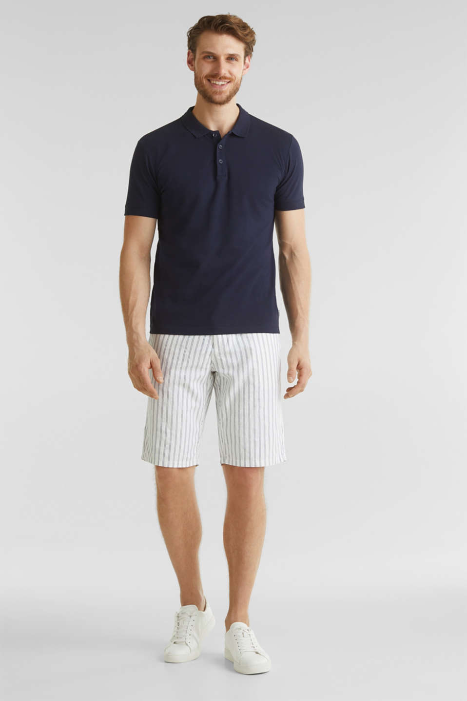 With linen: striped Bermudas, WHITE 3, detail image number 1