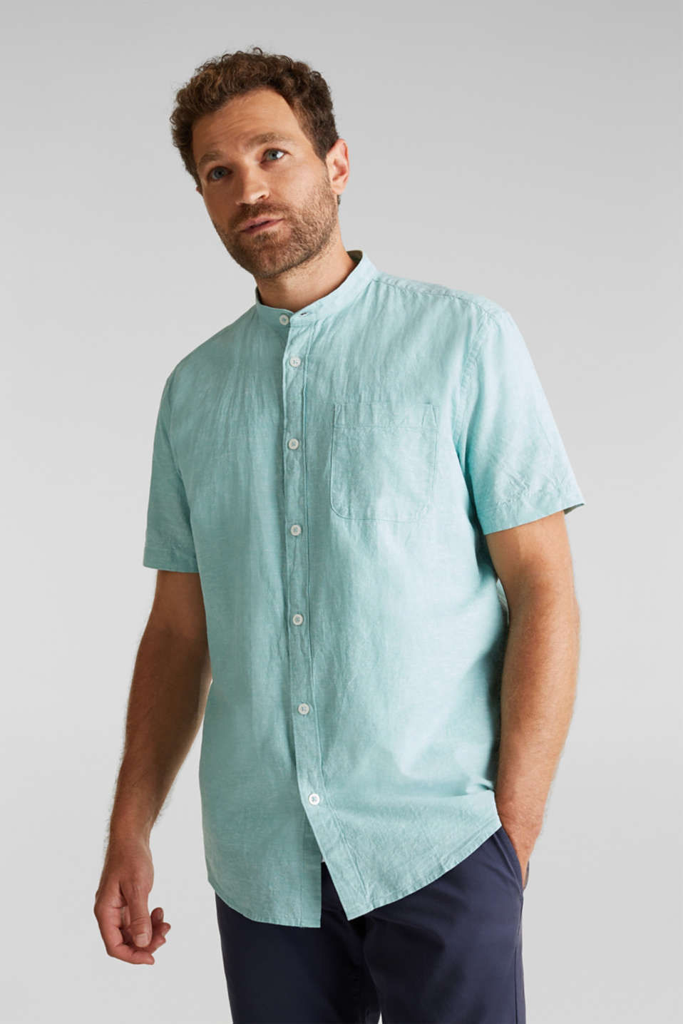Blended linen: short sleeve shirt with band collar, DUSTY GREEN 5, detail image number 0