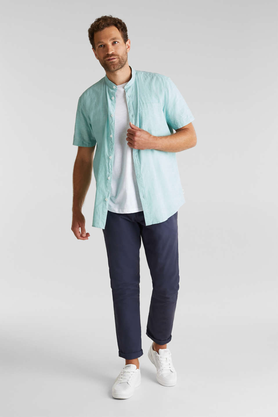 Blended linen: short sleeve shirt with band collar, DUSTY GREEN 5, detail image number 1