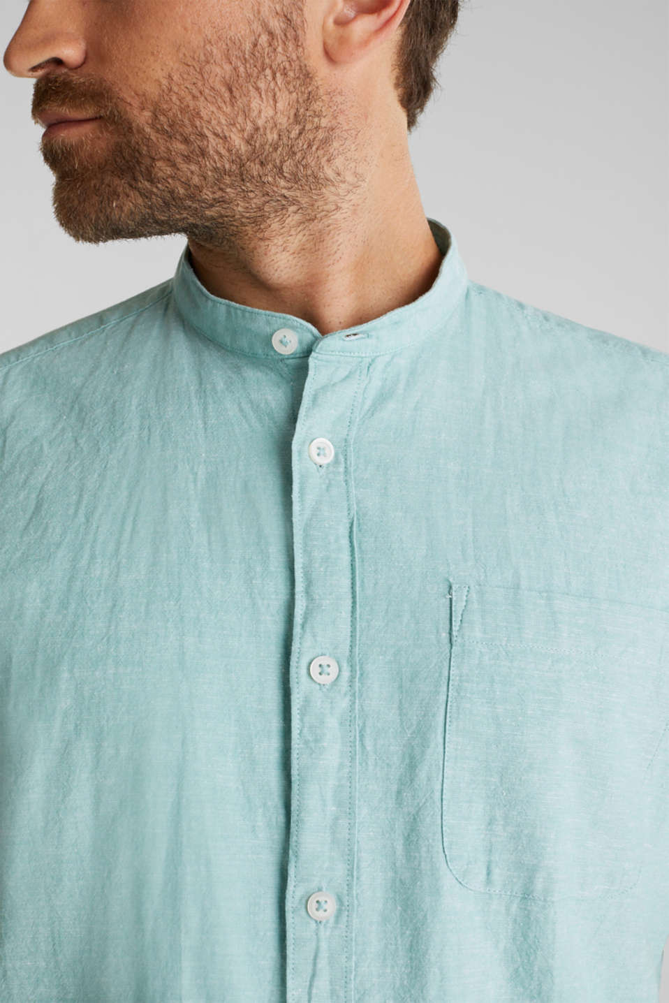 Blended linen: short sleeve shirt with band collar, DUSTY GREEN 5, detail image number 2