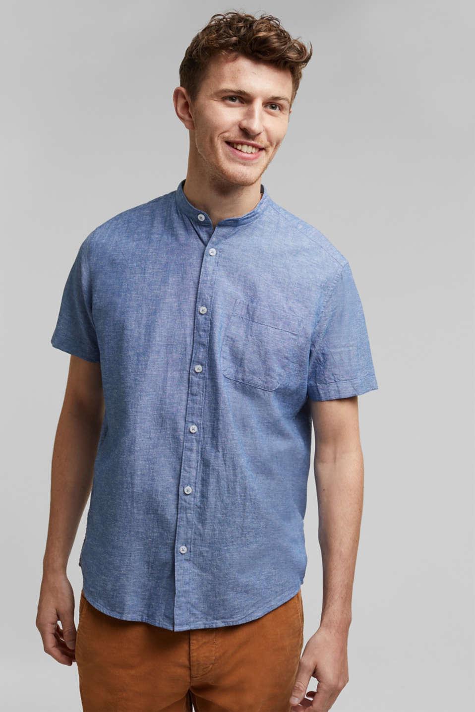 Blended linen: short sleeve shirt with band collar, INK 5, detail image number 0