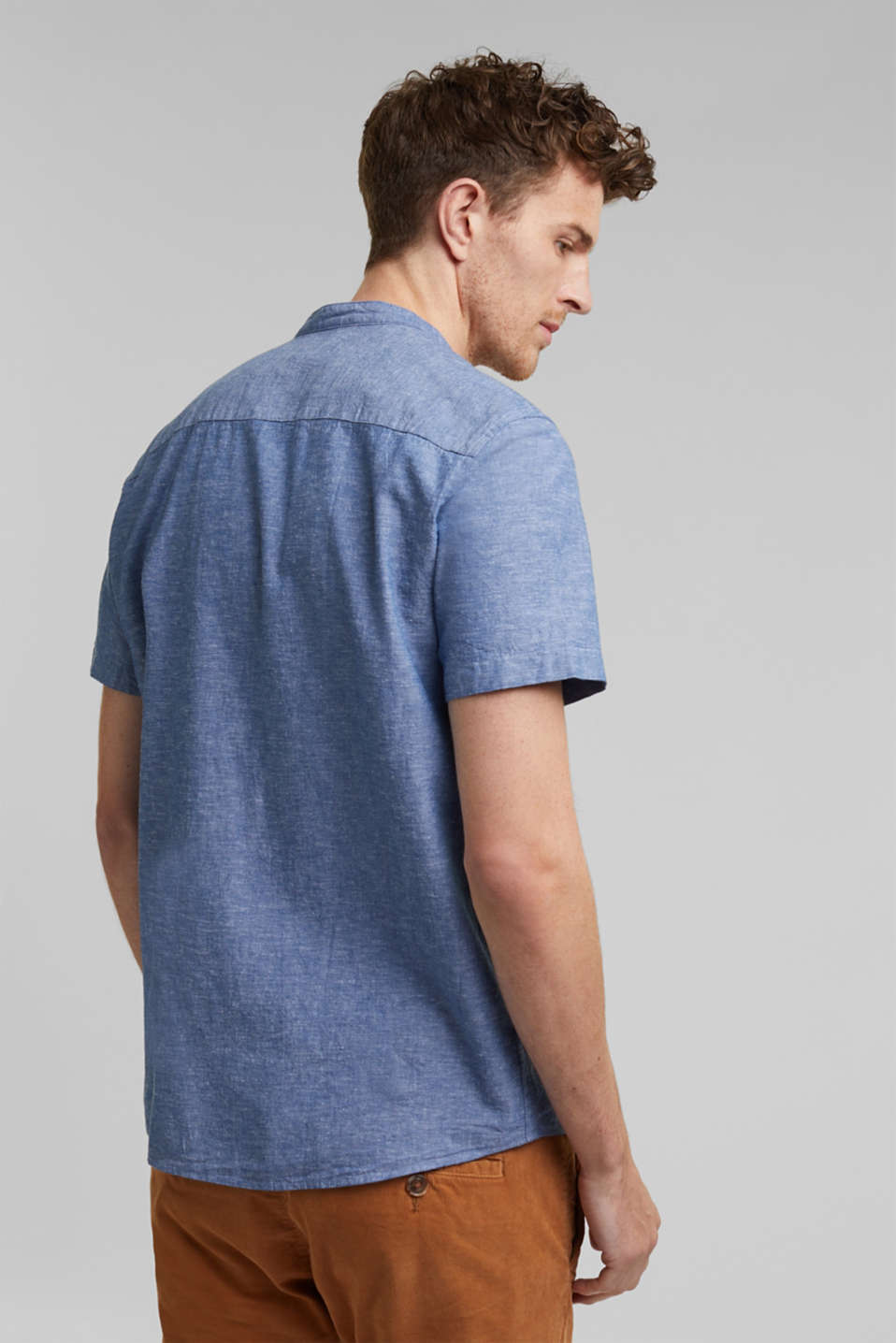 Blended linen: short sleeve shirt with band collar, INK 5, detail image number 3