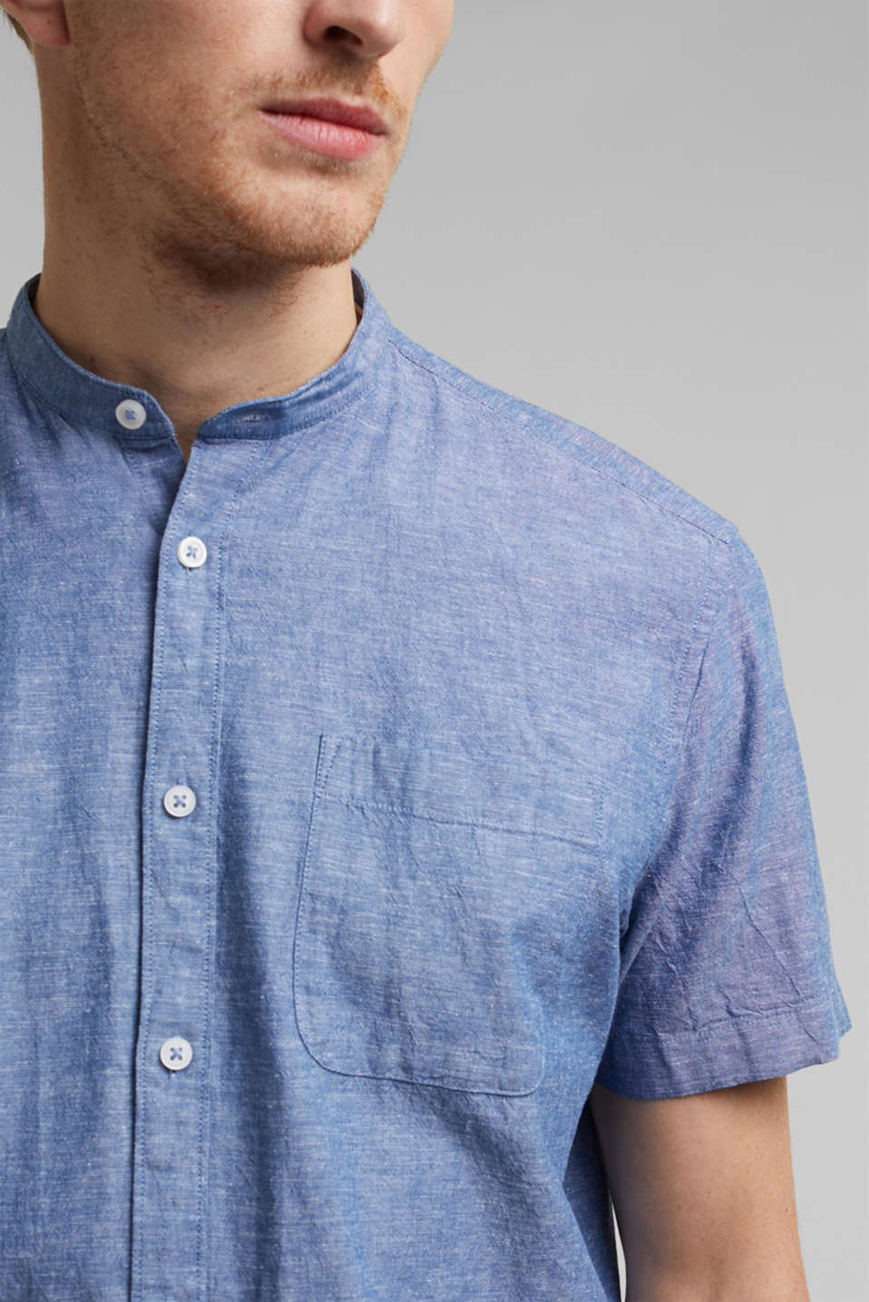Blended linen: short sleeve shirt with band collar, INK 5, detail image number 2