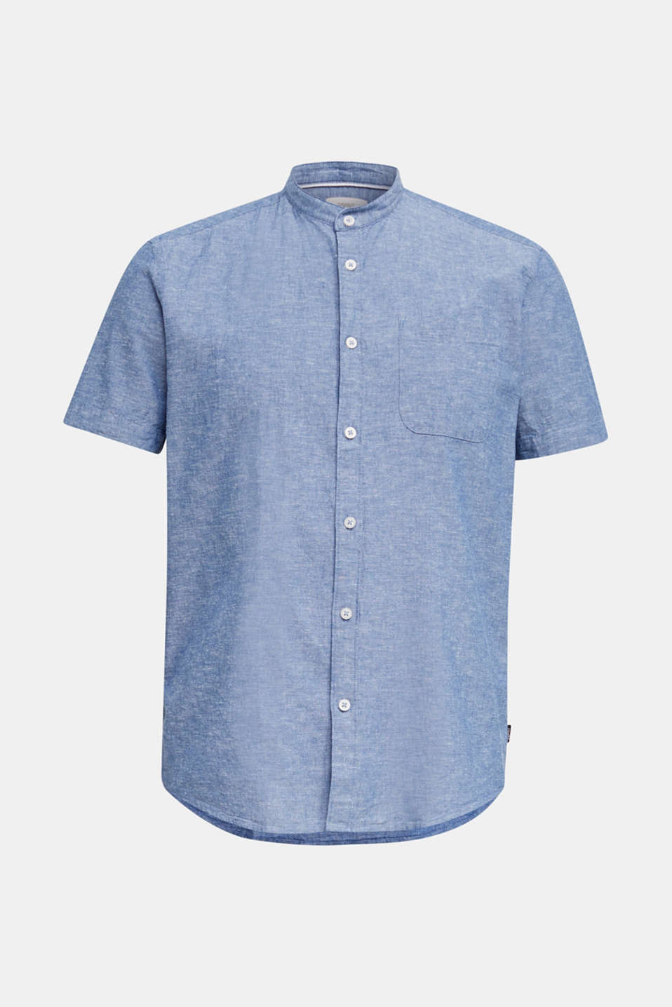 Blended linen: short sleeve shirt with band collar, INK 5, detail image number 7