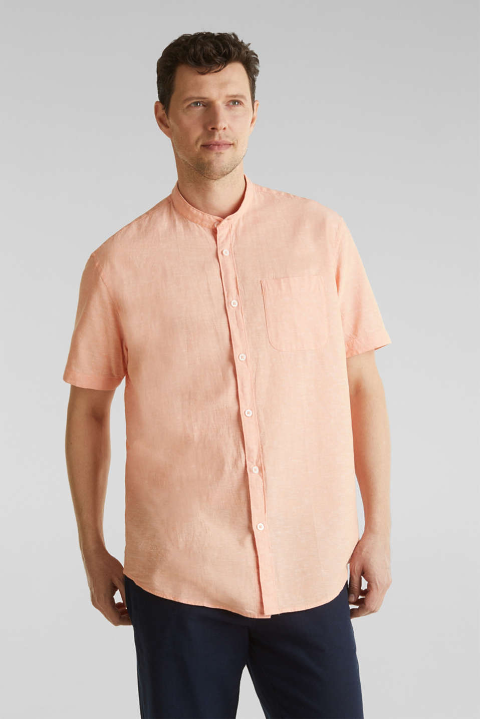 Blended linen: short sleeve shirt with band collar, ORANGE 5, detail image number 0