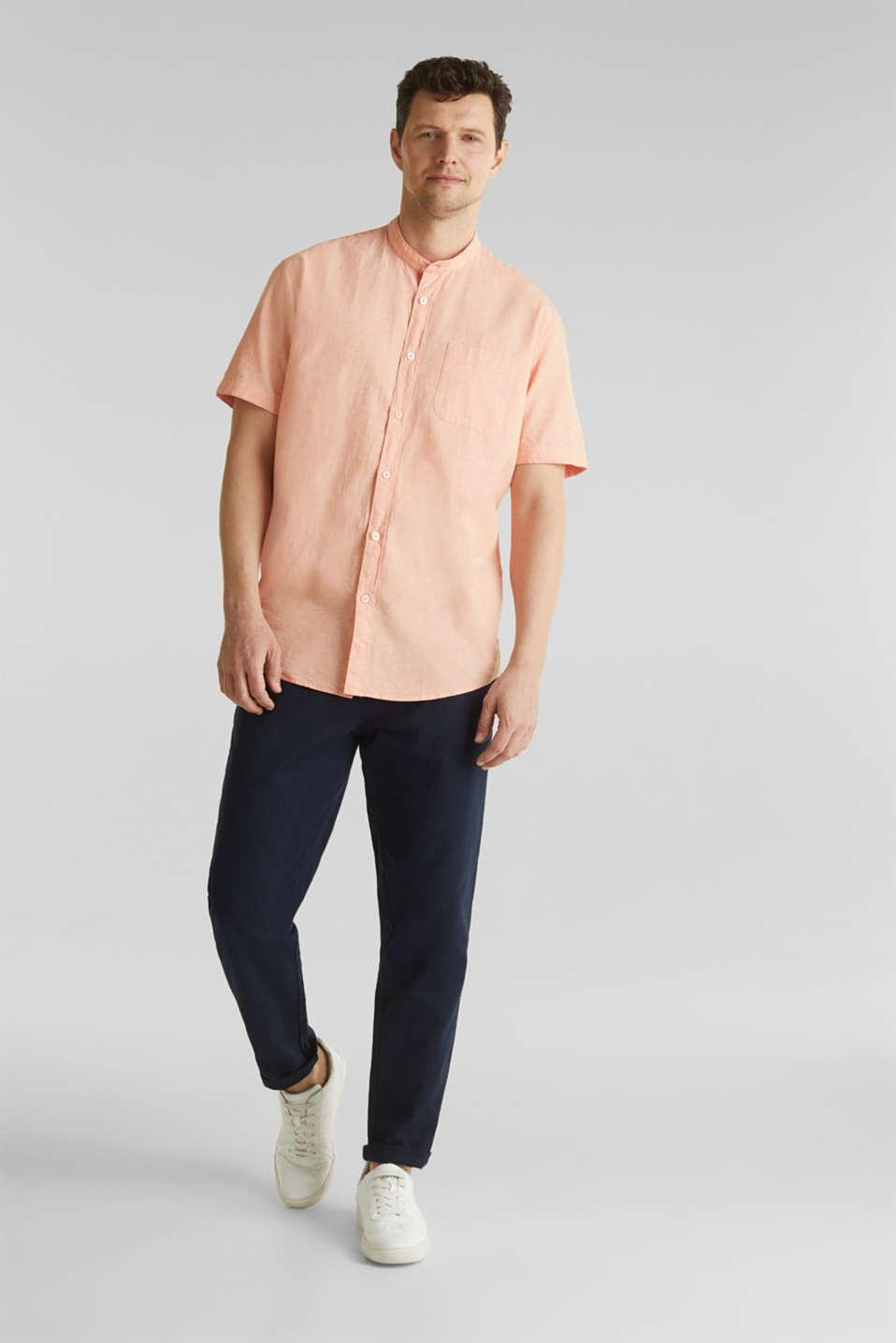 Blended linen: short sleeve shirt with band collar, ORANGE 5, detail image number 1