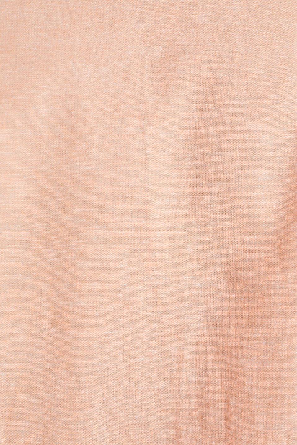 Blended linen: short sleeve shirt with band collar, ORANGE 5, detail image number 4