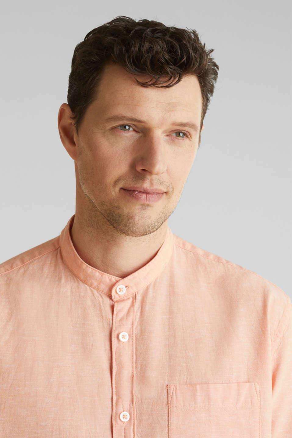 Blended linen: short sleeve shirt with band collar, ORANGE 5, detail image number 5