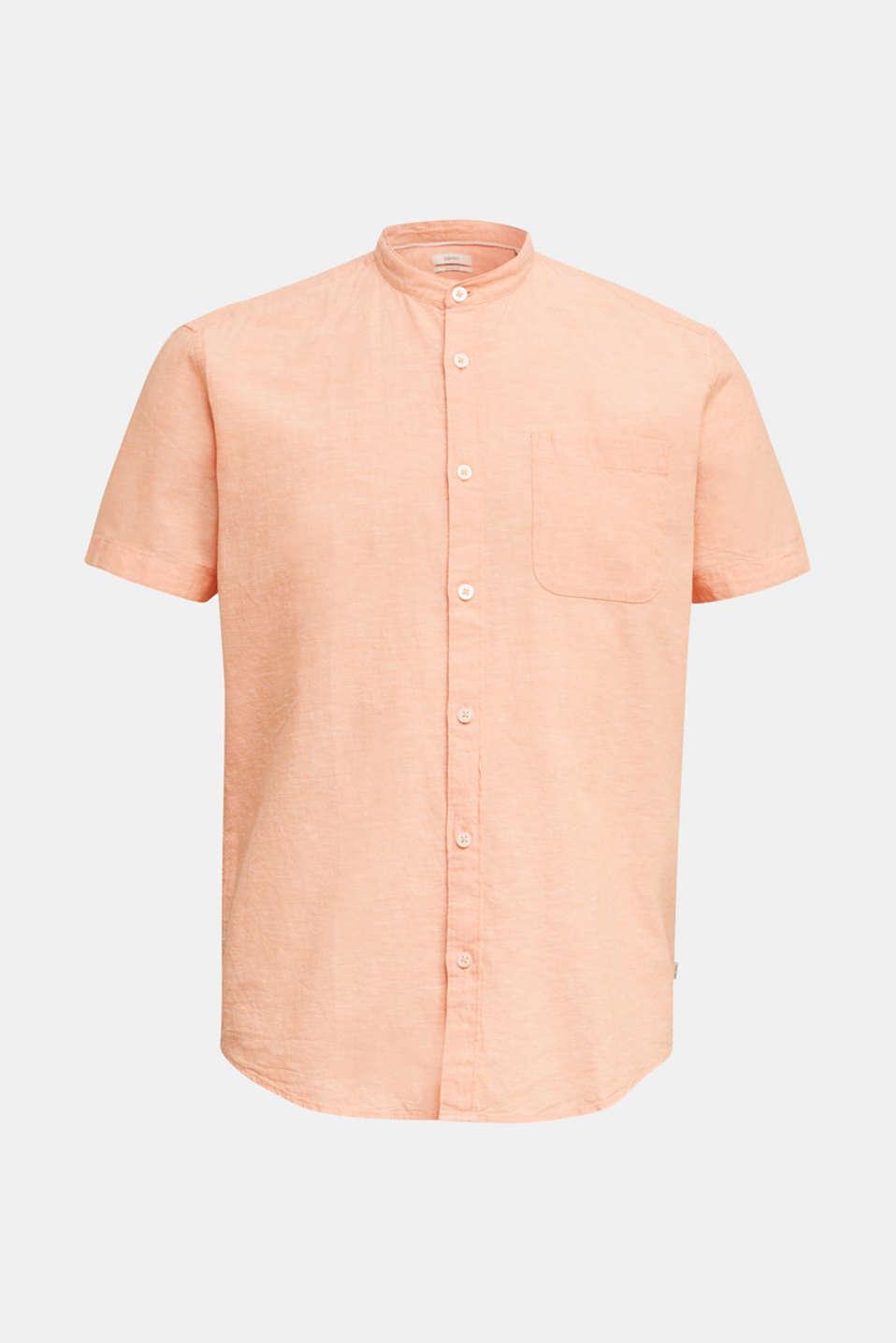 Blended linen: short sleeve shirt with band collar, ORANGE 5, detail image number 6
