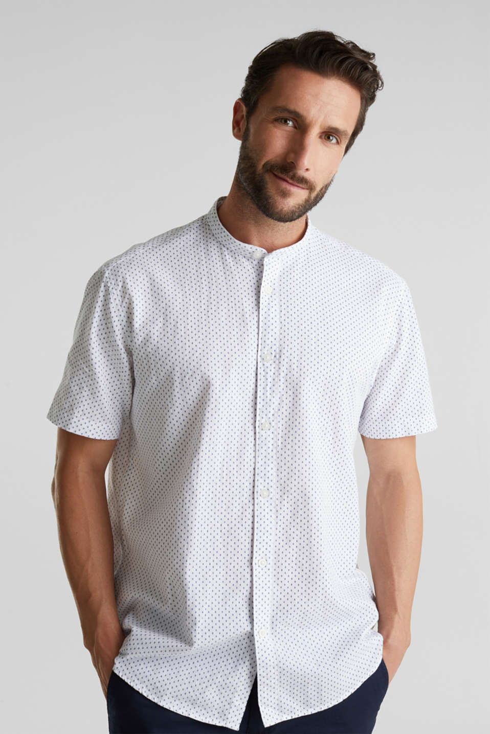 Blended linen: short sleeve shirt with band collar, WHITE 4, detail image number 0