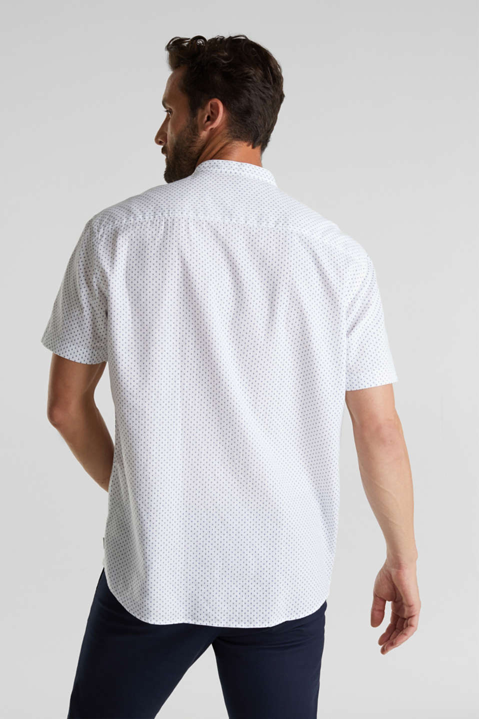Blended linen: short sleeve shirt with band collar, WHITE 4, detail image number 3