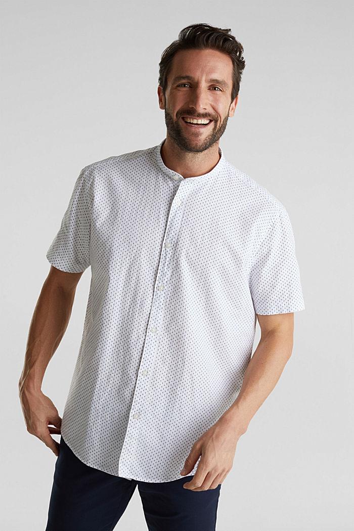 Mit Leinen: Kurzarm-Hemd mit Stehkragen, WHITE, detail image number 5