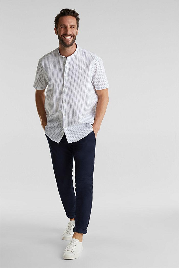 Mit Leinen: Kurzarm-Hemd mit Stehkragen, WHITE, detail image number 1