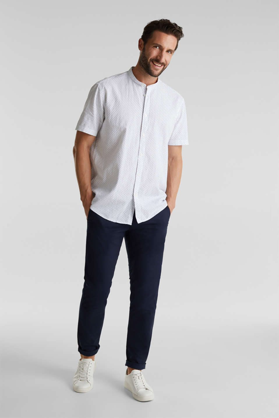 Blended linen: short sleeve shirt with band collar, WHITE 4, detail image number 6