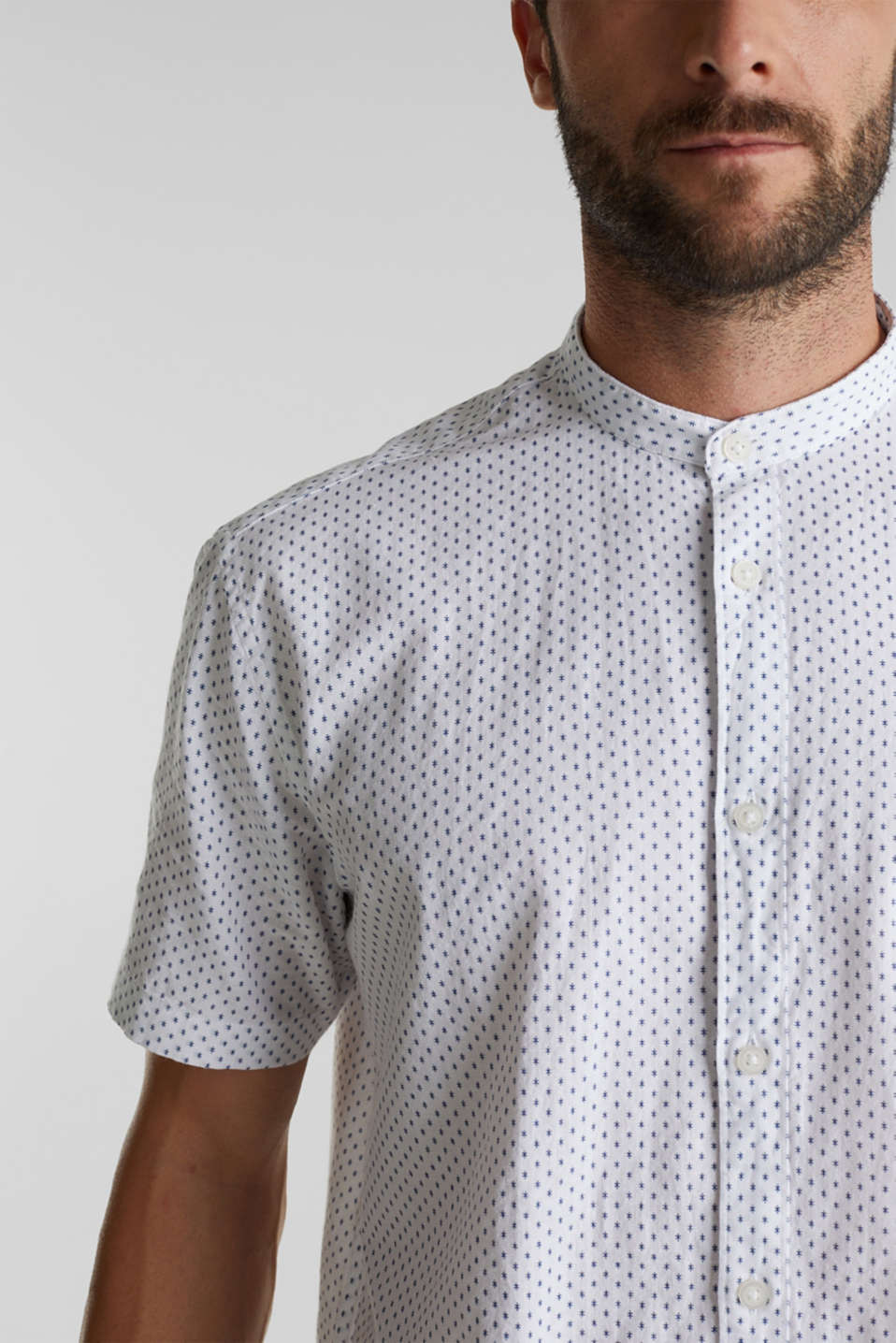 Blended linen: short sleeve shirt with band collar, WHITE 4, detail image number 2