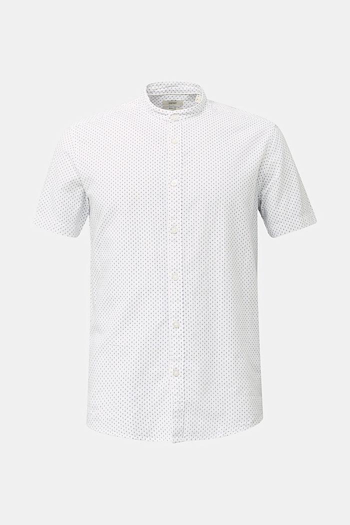 Mit Leinen: Kurzarm-Hemd mit Stehkragen