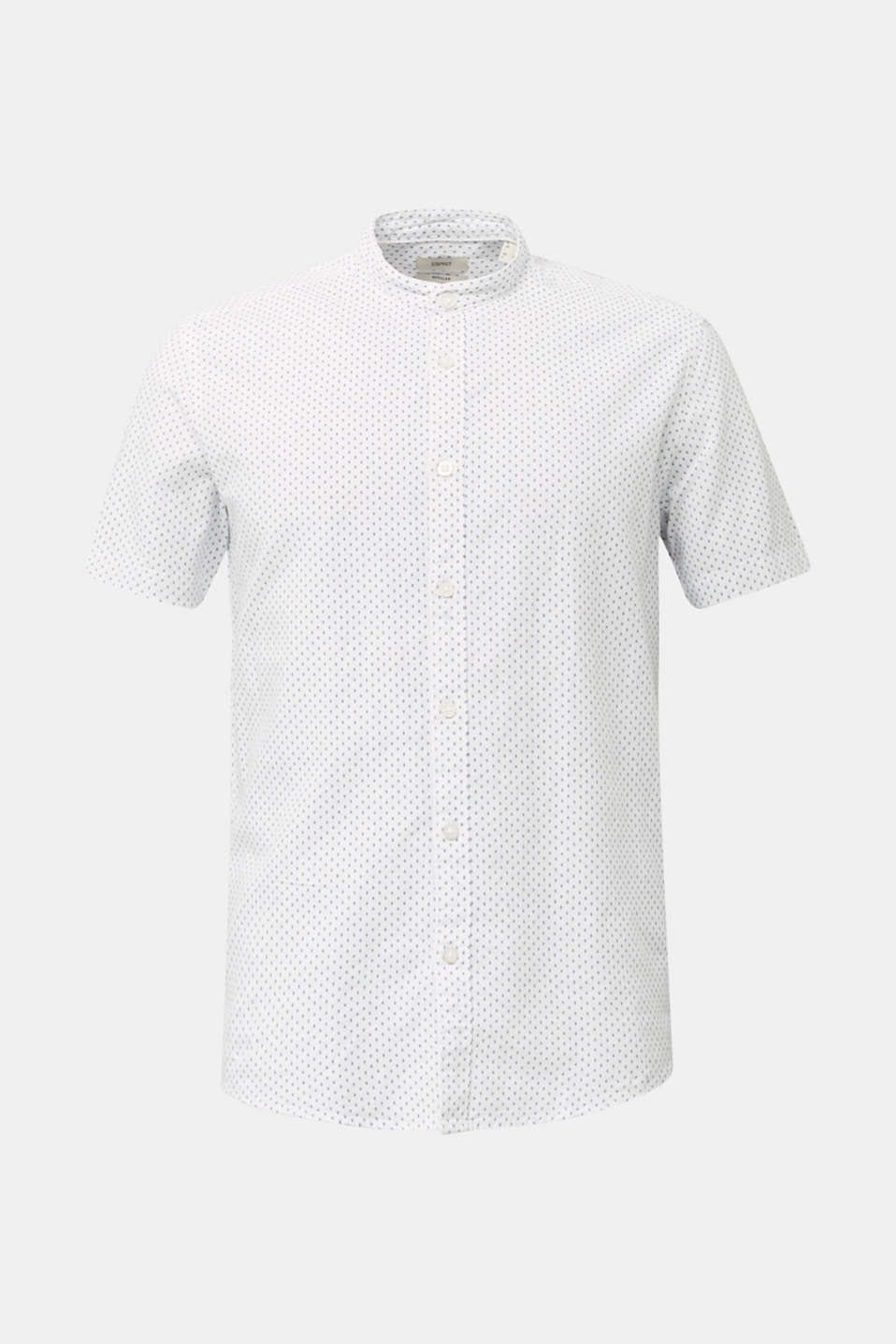 Blended linen: short sleeve shirt with band collar, WHITE 4, detail image number 7