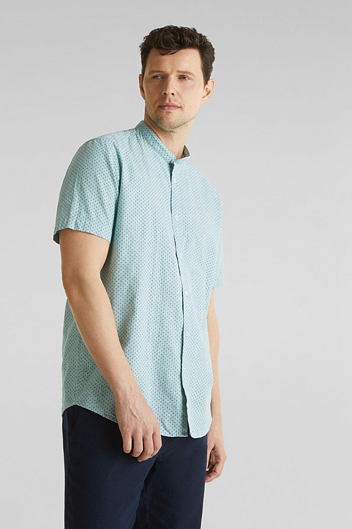 Blended linen: short sleeve shirt with band collar, DUSTY GREEN, detail image number 0