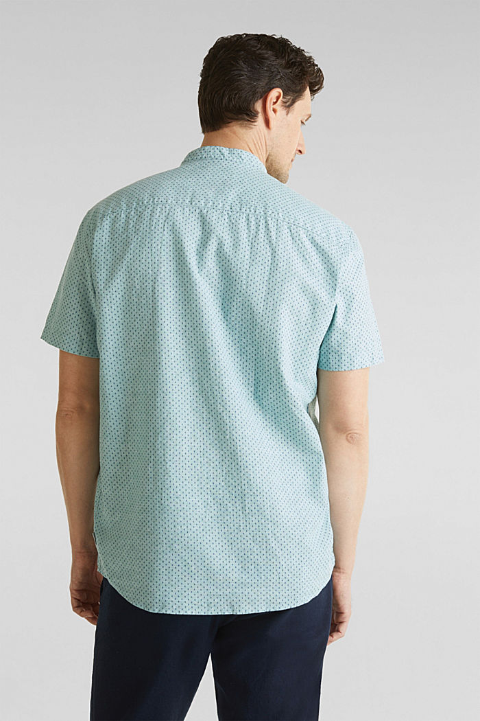 Blended linen: short sleeve shirt with band collar, DUSTY GREEN, detail image number 3