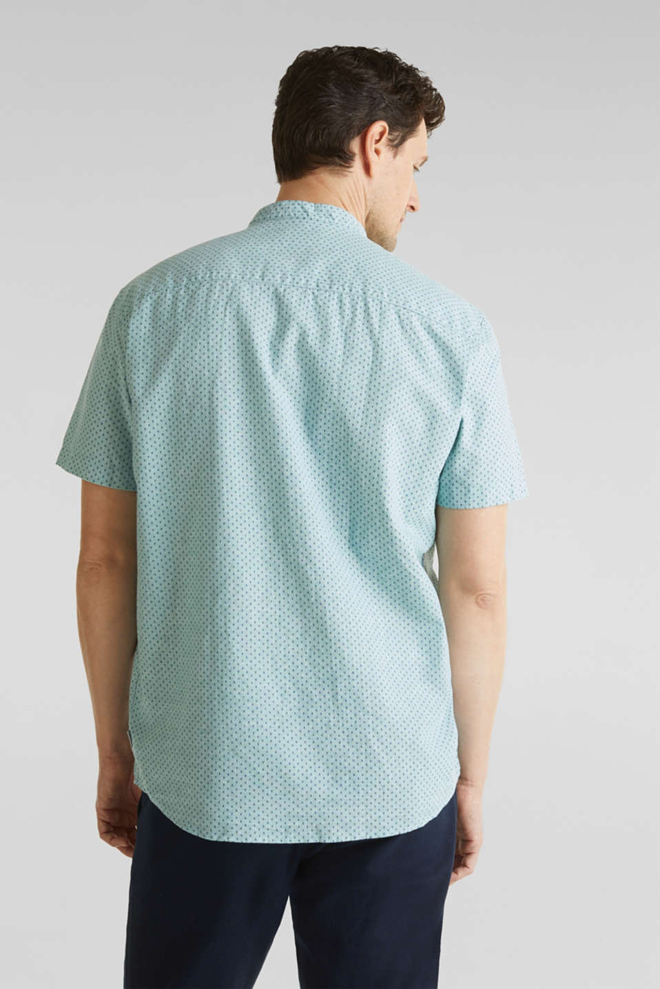 Blended linen: short sleeve shirt with band collar, DUSTY GREEN 4, detail image number 3