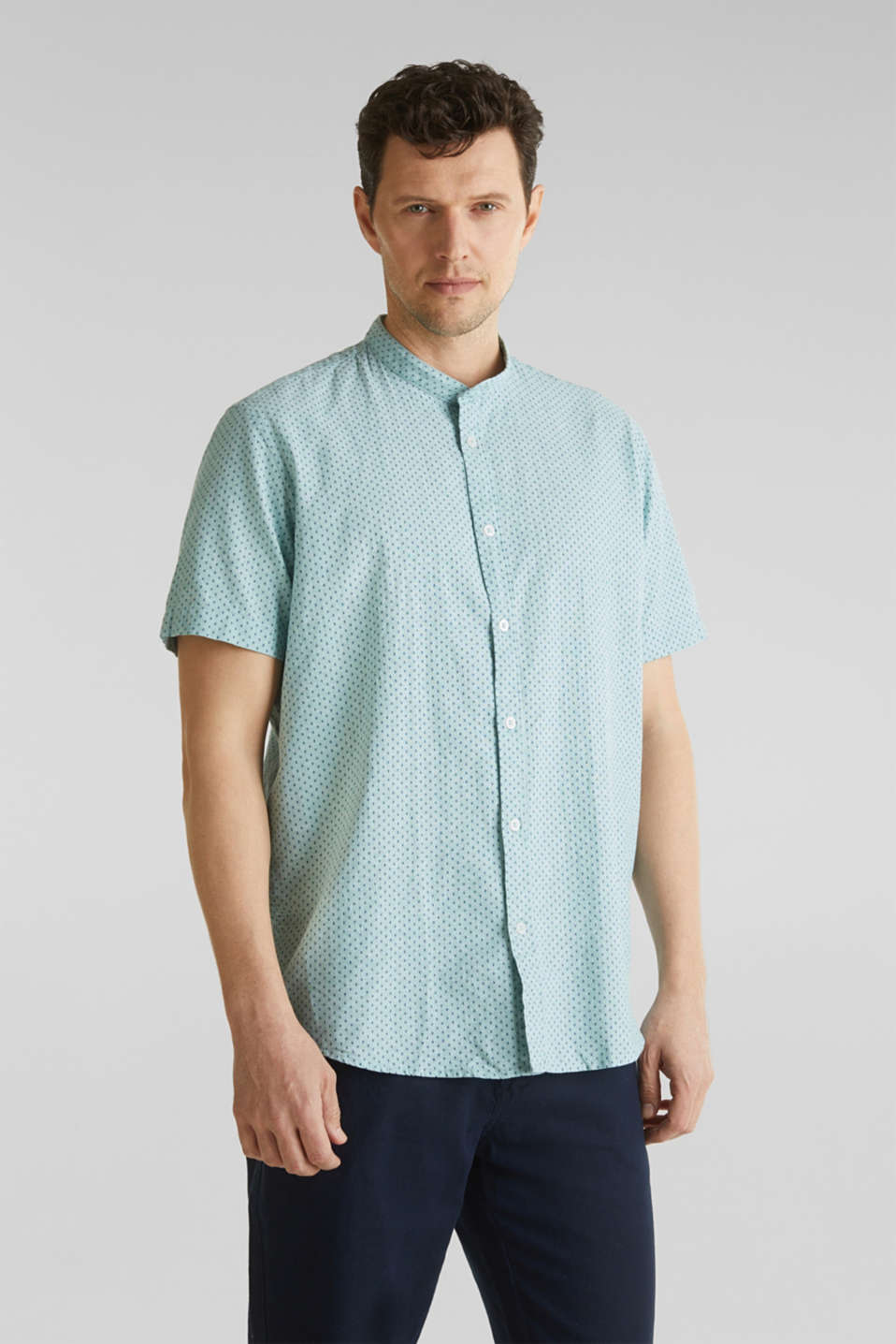 Blended linen: short sleeve shirt with band collar, DUSTY GREEN 4, detail image number 6