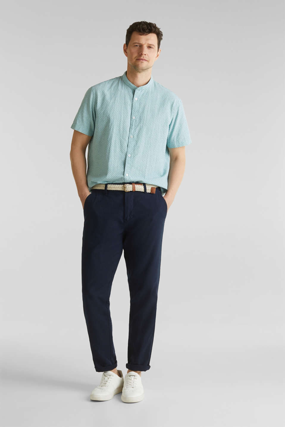 Blended linen: short sleeve shirt with band collar, DUSTY GREEN 4, detail image number 1