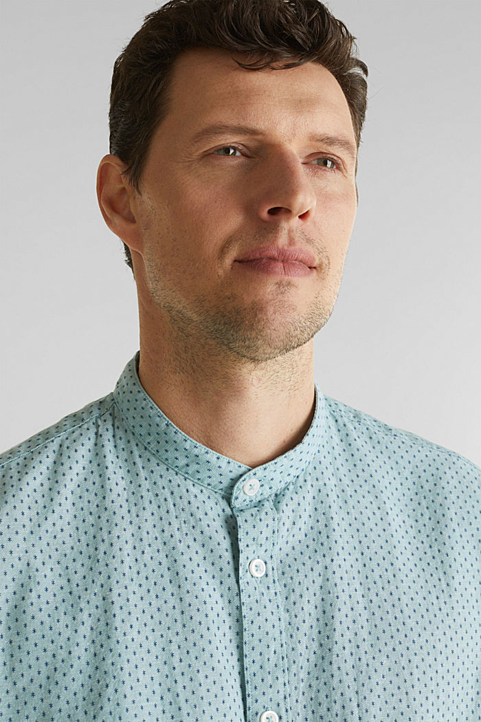 Blended linen: short sleeve shirt with band collar, DUSTY GREEN, detail image number 2