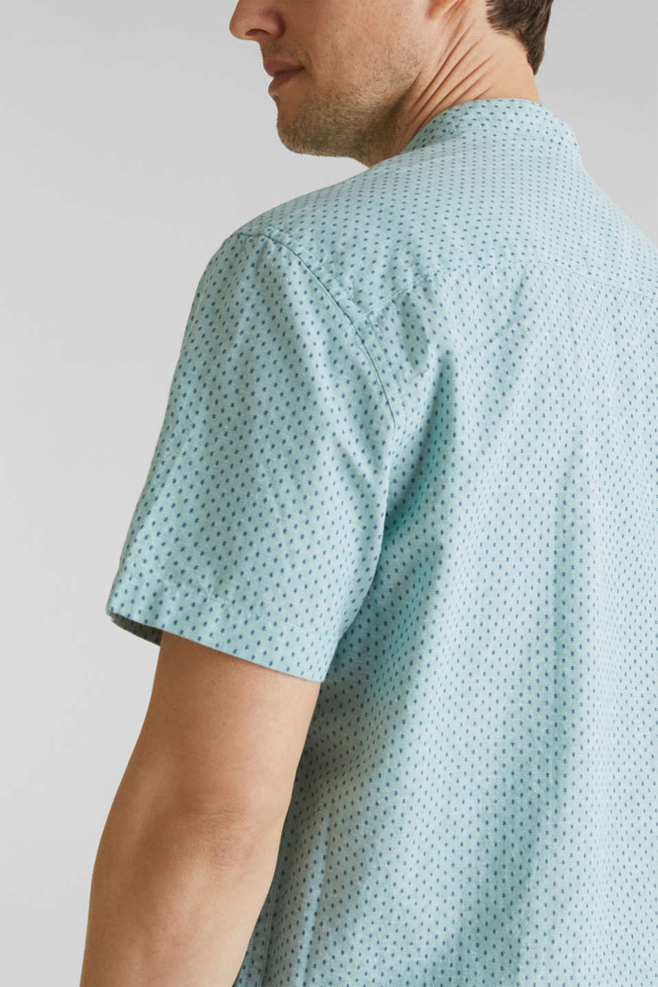 Blended linen: short sleeve shirt with band collar, DUSTY GREEN 4, detail image number 5
