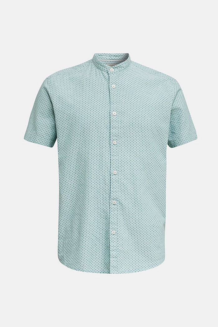 Blended linen: short sleeve shirt with band collar, DUSTY GREEN, overview