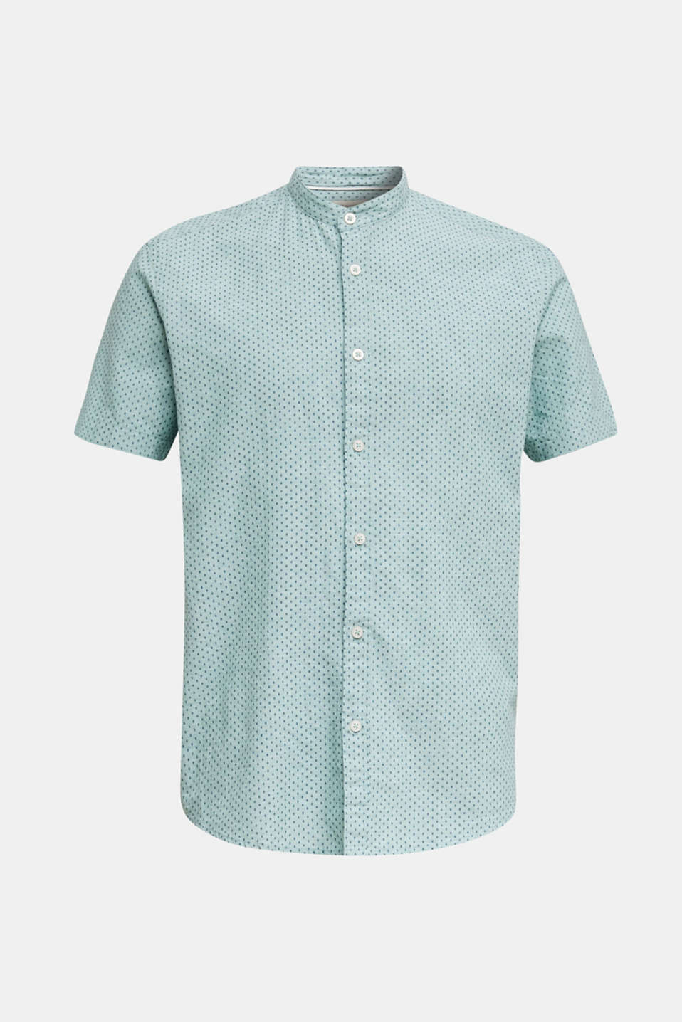 Blended linen: short sleeve shirt with band collar, DUSTY GREEN 4, detail image number 7