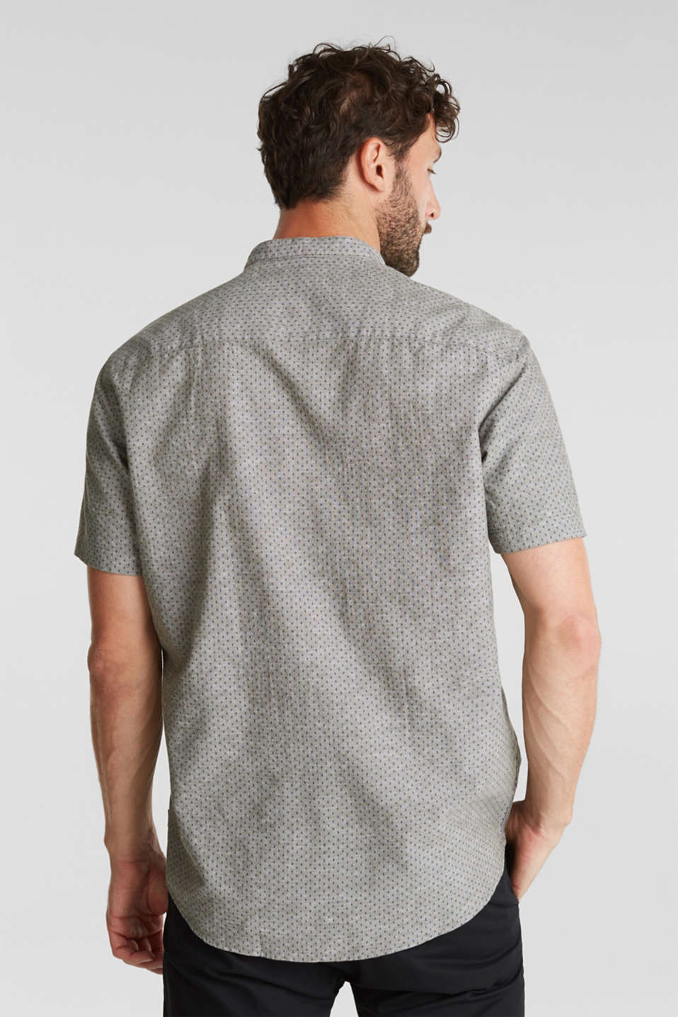 Blended linen: short sleeve shirt with band collar, KHAKI GREEN 4, detail image number 3