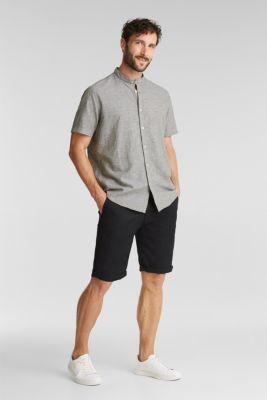 Blended linen: short sleeve shirt with band collar, KHAKI GREEN 4, detail