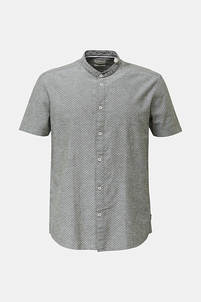 Blended linen: short sleeve shirt with band collar, KHAKI GREEN, detail image number 5