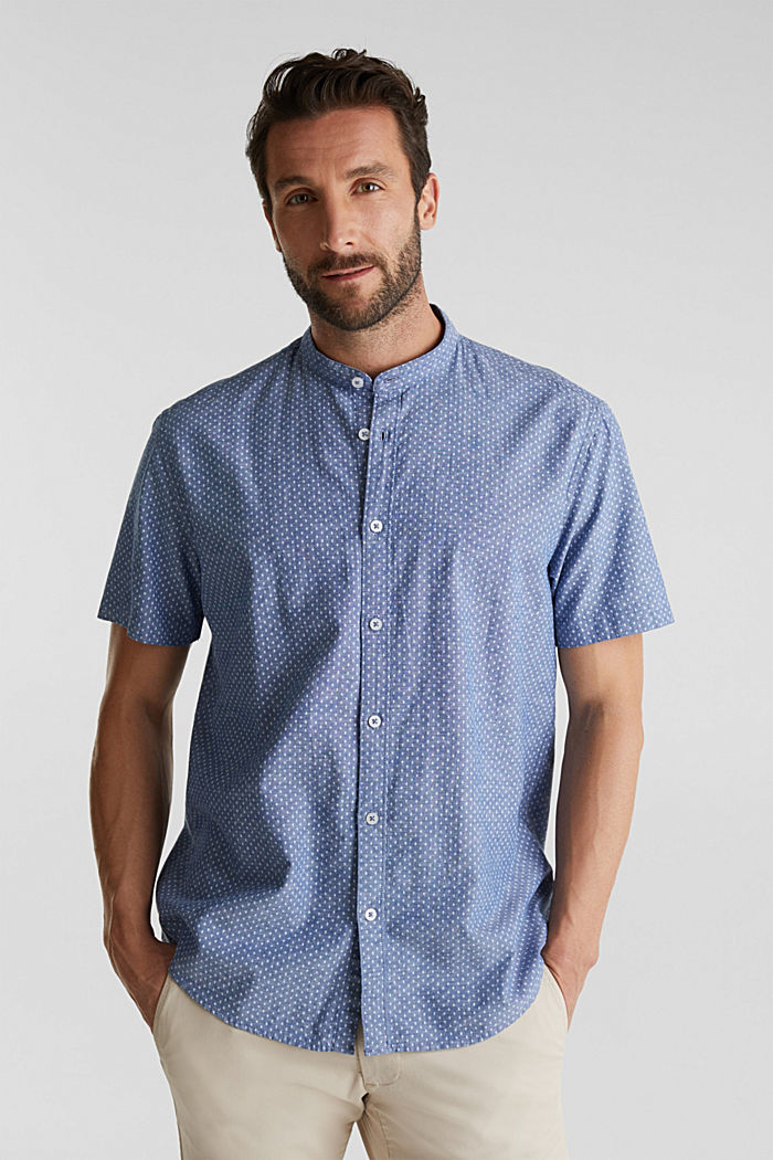 Blended linen: short sleeve shirt with band collar, INK, detail image number 0
