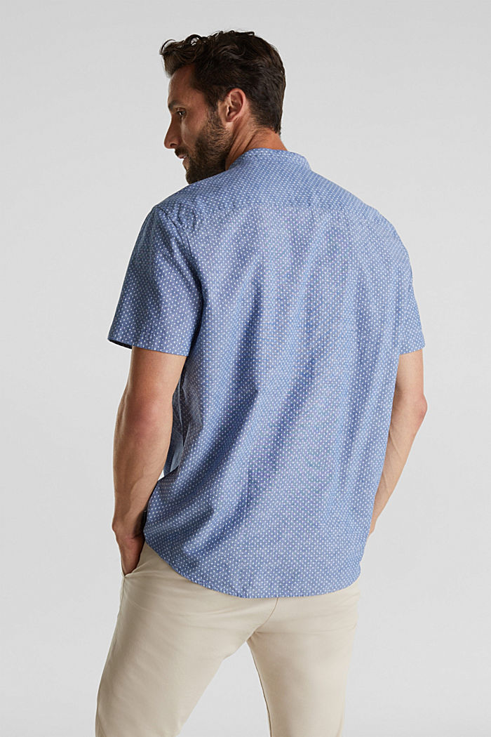 Blended linen: short sleeve shirt with band collar, INK, detail image number 3