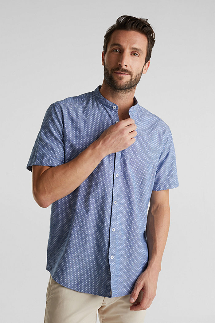 Blended linen: short sleeve shirt with band collar, INK, detail image number 5