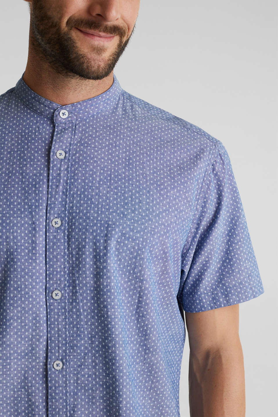 Blended linen: short sleeve shirt with band collar, INK 4, detail image number 2