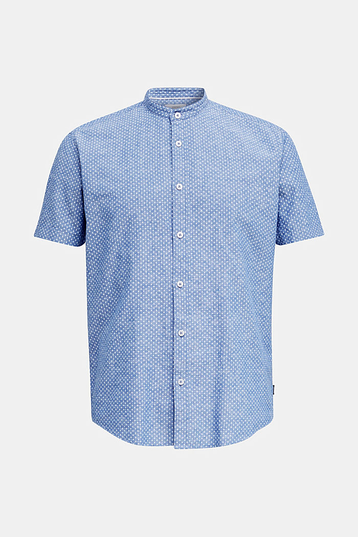 Blended linen: short sleeve shirt with band collar, INK, detail image number 6