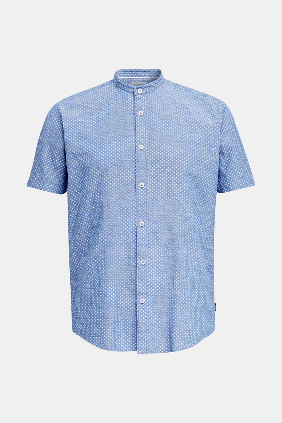 Blended linen: short sleeve shirt with band collar, INK 4, detail image number 6