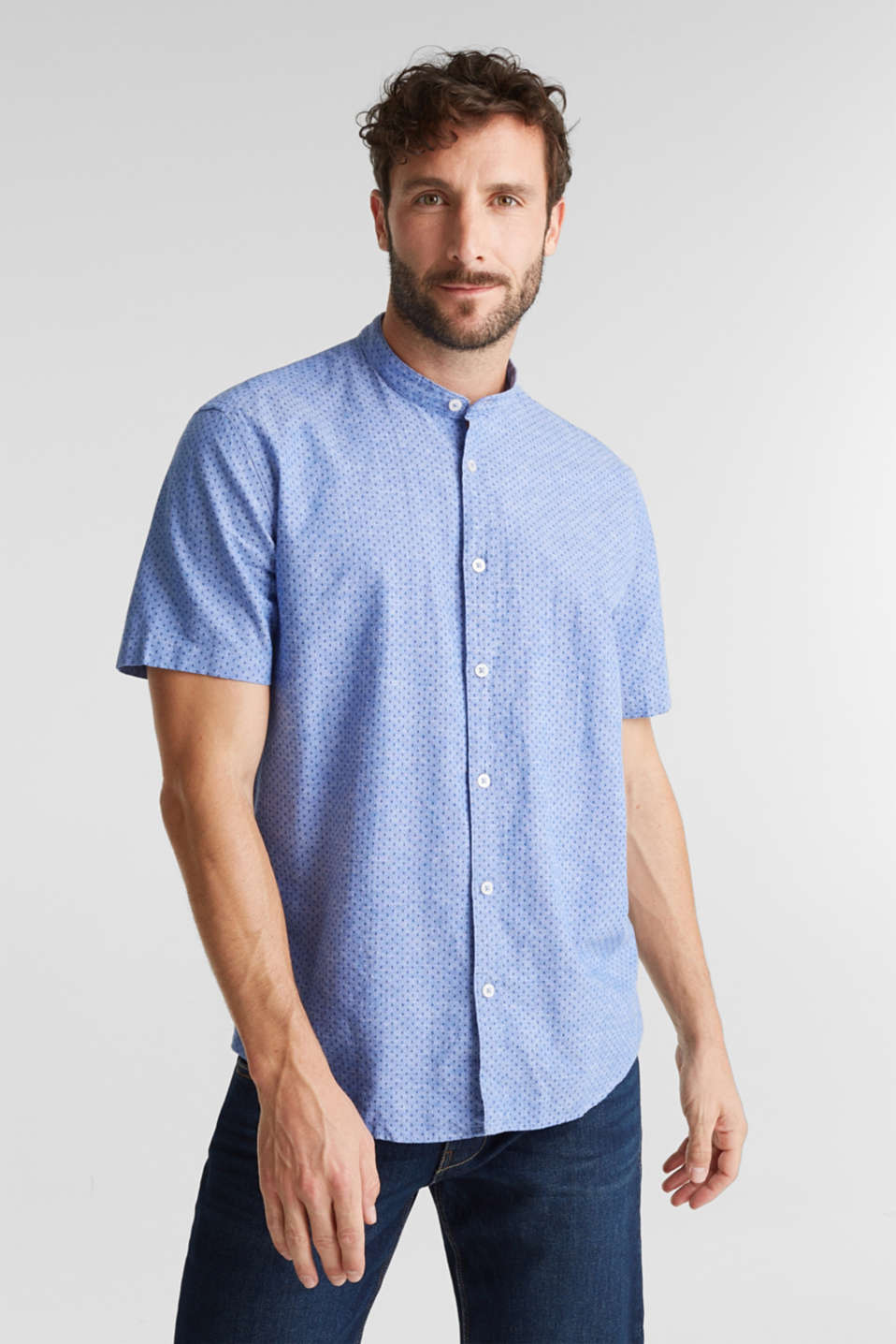 Blended linen: short sleeve shirt with band collar, BLUE 4, detail image number 0
