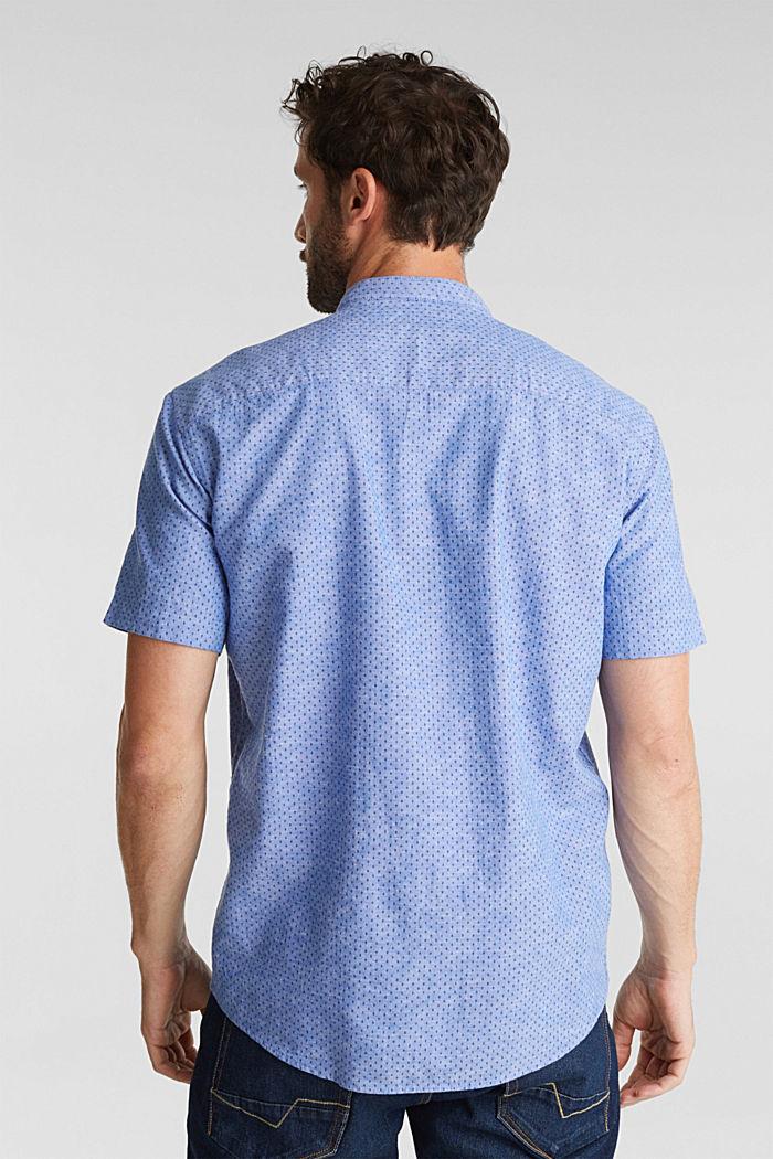 Mit Leinen: Kurzarm-Hemd mit Stehkragen, BLUE, detail image number 3