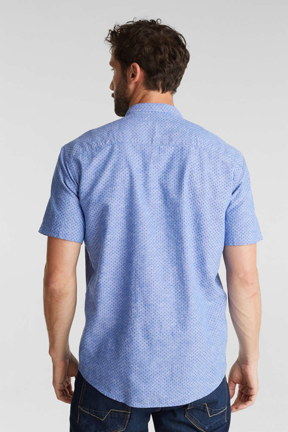 Blended linen: short sleeve shirt with band collar, BLUE 4, detail image number 3