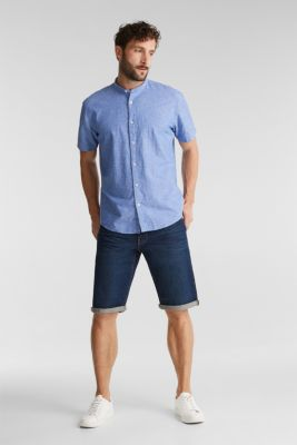 Blended linen: short sleeve shirt with band collar, BLUE 4, detail