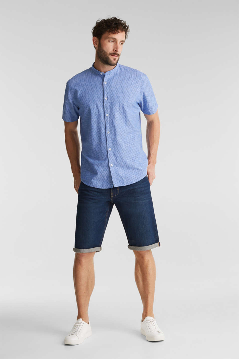 Blended linen: short sleeve shirt with band collar, BLUE 4, detail image number 1