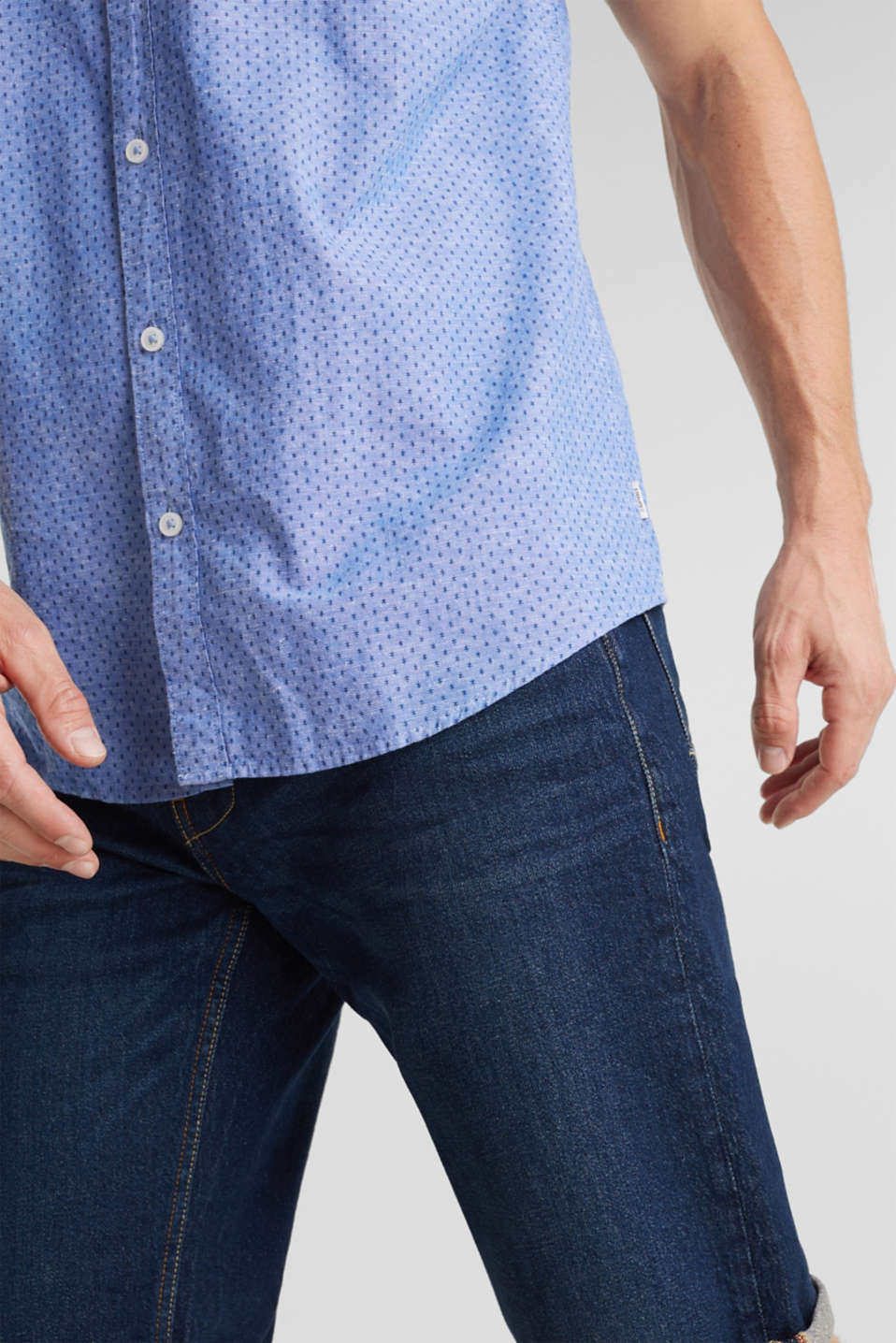 Blended linen: short sleeve shirt with band collar, BLUE 4, detail image number 2