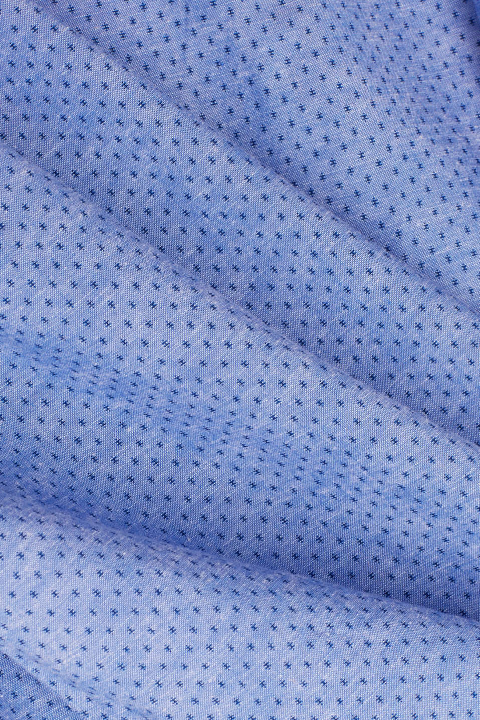 Blended linen: short sleeve shirt with band collar, BLUE 4, detail image number 4