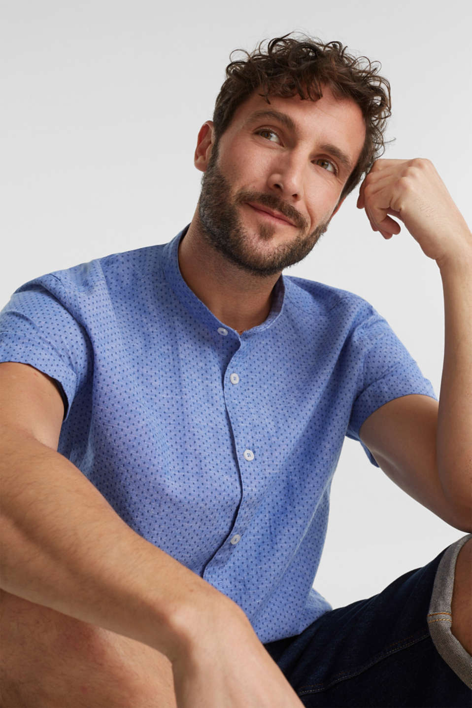 Blended linen: short sleeve shirt with band collar, BLUE 4, detail image number 5